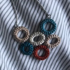 Crocheted necklace blue orange beige silver chain